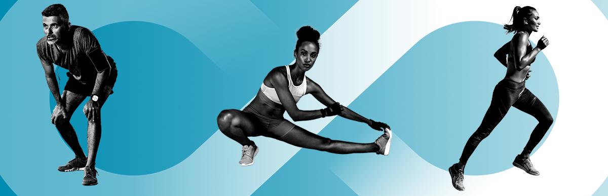 Black and white images of a man and two women doing different forms of exercise, over a blue gradient background with the infinity symbol